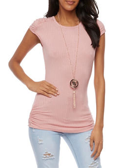 Cap Sleeve Rib Knit Top with Necklace - MAUVE - 3033038347221