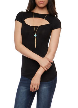 Rib Knit Cutout Top with Necklace - 3033038347222