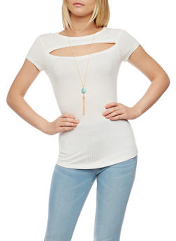 Rib Knit Cutout Top with Necklace - WHITE - 3033038347222