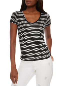 Striped V Neck Top with Ruched Sides - 3033038347230