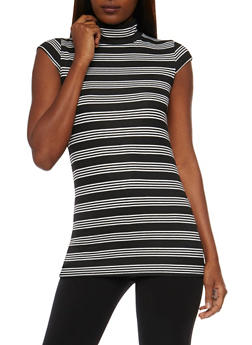 Striped Short Sleeve Mock Neck Top - 3033038347231
