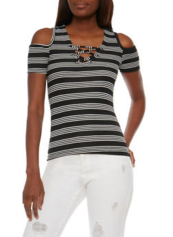 Striped Short Sleeve Caged Cold Shoulder Top - 3033038347233
