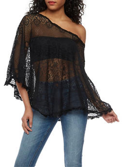 Lace Poncho with Crochet Trim - 3033038347311