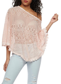 Lace Poncho with Crochet Trim - BLUSH - 3033038347311