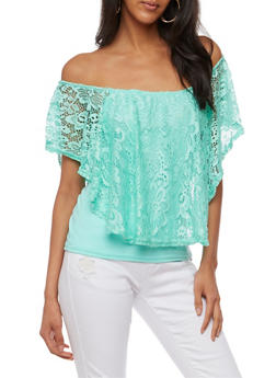 Off the Shoulder Top with Lace Overlay - 3033038347320