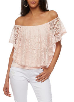 Off the Shoulder Top with Lace Overlay - BLUSH - 3033038347320