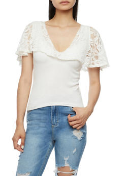 Lace Overlay Tank Top - 3033038347350