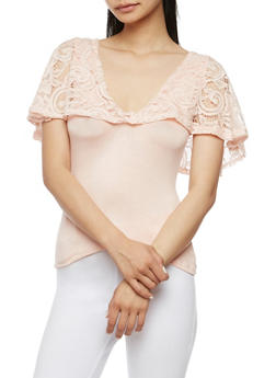 Lace Overlay Tank Top - BLUSH - 3033038347350