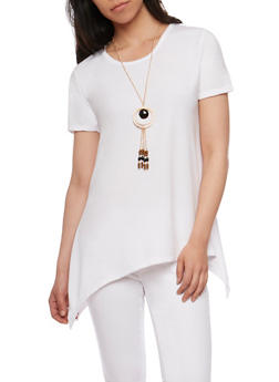 Circle Top with Necklace - WHITE - 3033038347584