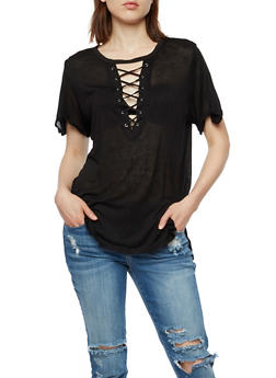 Short Sleeve Lace Up Keyhole Top - 3033058750004