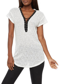 Short Sleeve Lace Up Knit Top - 3033058750120