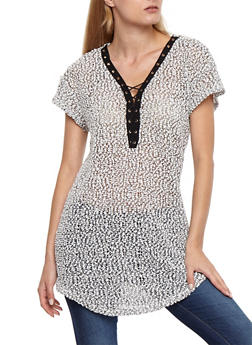 Short Sleeve Lace Up Knit Top - BLACK/WHITE - 3033058750120