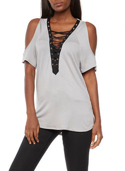 Lace Up Cold Shoulder Top - HEATHER - 3033058750150