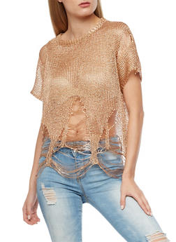 Shredded Metallic Mesh Top - 3033058750194