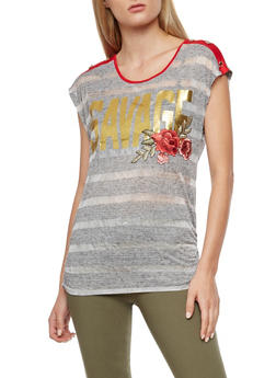 Savage Foil Graphic Striped Top - 3033058750240