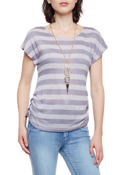 Striped Knit Top with Ruched Sides and Necklace - 3033058751126