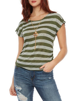 Striped Knit Top with Ruched Sides and Necklace - OLIVE - 3033058751126