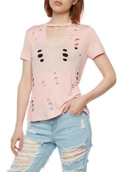 Lasercut Choker T Shirt - 3033058751703