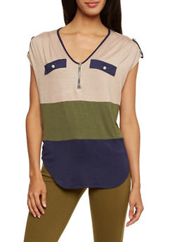 Sleeveless Color Block Top with Zipper Neckline - 3033058751706