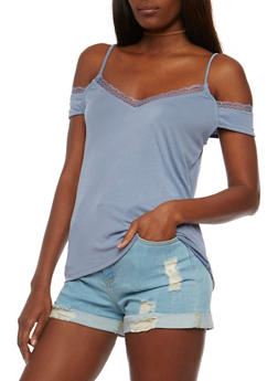 V Neck Cold Shoulder Top with Lace Trim - 3033058751759