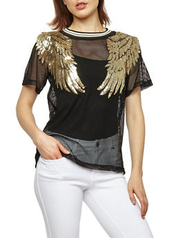 Sequined Wing Patch Fishnet Top - 3033058752192