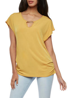 Short Sleeve Top with Ruched Side and Metal Bar Accent - 3033058752645