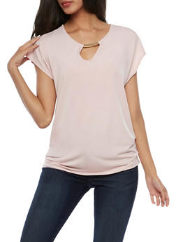 Short Sleeve Top with Ruched Side and Metal Bar Accent - BLUSH - 3033058752645