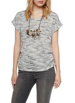 Knit Top with Feather Necklace and Ruching - 3033058755739