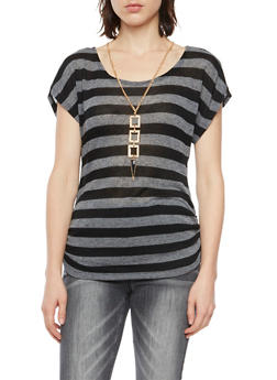 Striped Short Sleeve Top with Necklace - 3033058756148