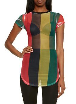 Tunic Top in Striped Mesh - 3033058756235