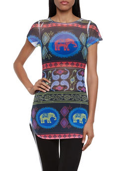 Mesh Tunic Top in Mixed Elephant Print - 3033058756317