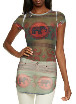 Mesh Tunic Top in Mixed Elephant Print - RUST - 3033058756317