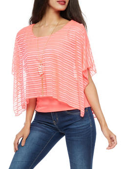 Sheer Striped Cold Shoulder Overlay with Necklace - 3033058756642
