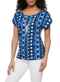 Printed Short Sleeve Top with Necklace - 3033058757066