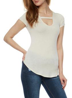 Short Sleeve V Neck Top with Caged Back - 3033058757271
