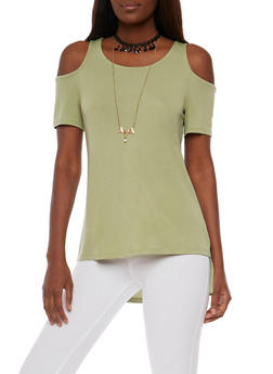 Cold Shoulder High Low Top - 3033058757415
