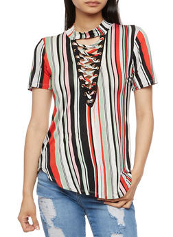 Striped Lace Up Choker Top - SAGE/RED - 3033058757497