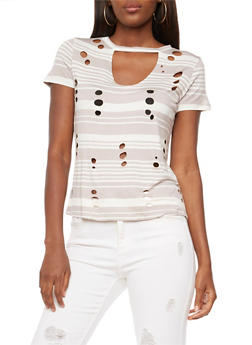 Striped Laser Cut Keyhole T Shirt - 3033058757509