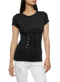 Short Sleeve Ribbed Knit with Corset Detail - 3033058757533