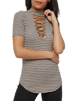 Striped Ribbed Knit Lace Up Choker Top - 3033058757550