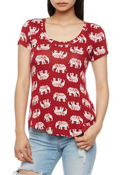Short Sleeve Elephant Print T Shirt - 3033058757597