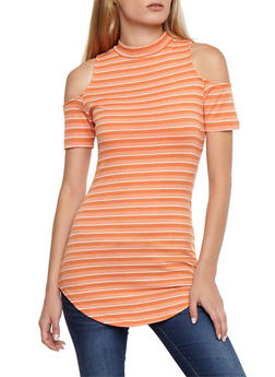 Striped Ribbed Knit Cold Shoulder Tunic Top - 3033058757662