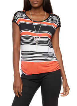Striped T Shirt with Necklace - 3033058757776