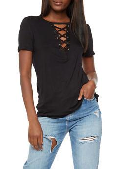 Lace Up T Shirt - BLACK - 3033058757862