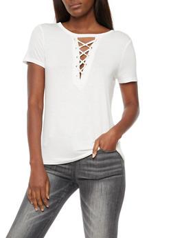 Lace Up T Shirt - WHITE - 3033058757862