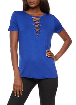 Lace Up T Shirt - 3033058757862