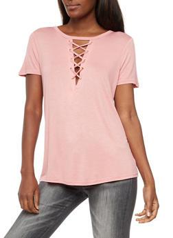 Lace Up T Shirt - MAUVE - 3033058757862
