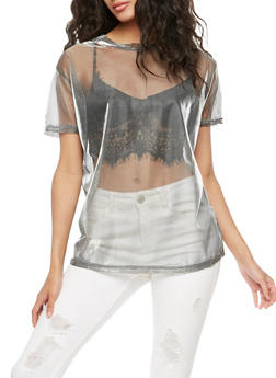 Mesh Lurex Short Sleeve Top - 3033058758130