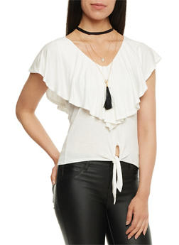 Ruffled Tie Front Top with Necklace - IVORY - 3033058758317