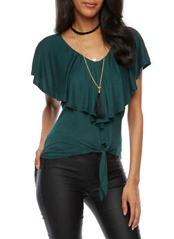 Ruffled Tie Front Top with Necklace - 3033058758317